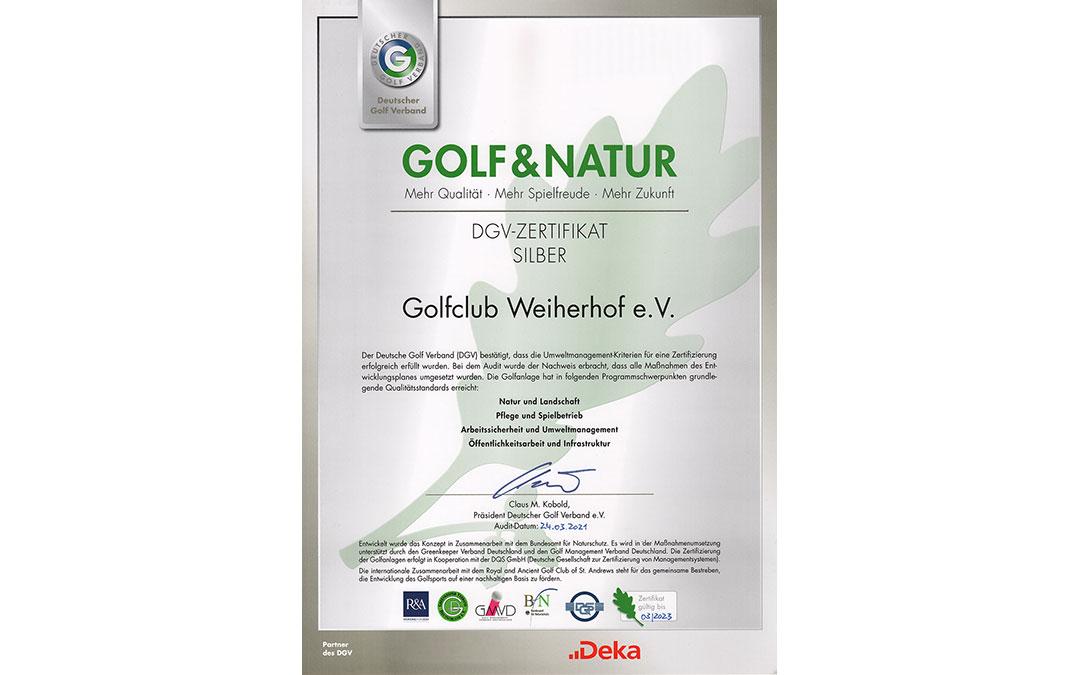 DGV Golf&Natur Zertifikat